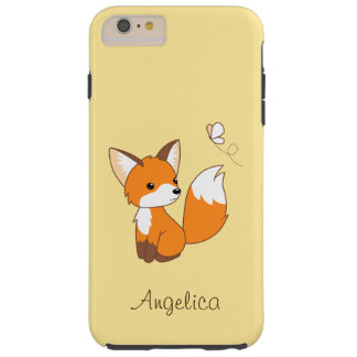 Cute Little Fox Watching Butterfly Tough iPhone 6 Plus Case