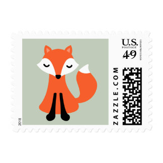Cute little fox woodland animal cartoon postage