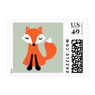 Cute little fox woodland animal cartoon stamp
