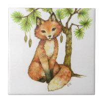 Cute Little Fox Woodland Animal Pine Tree Wildlife Tile