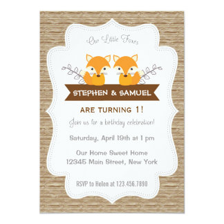 Cute Little Foxes Birthday Invitation Woodland