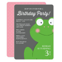 Cute Little Froggy Birthday Party Invite / Pink