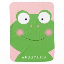 Cute Little Froggy Personalized Baby Blanket