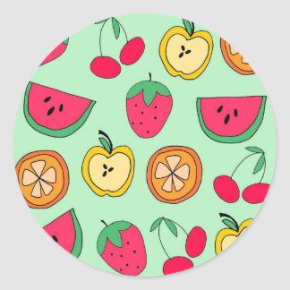 Cute Little Fruit Salad Classic Round Sticker