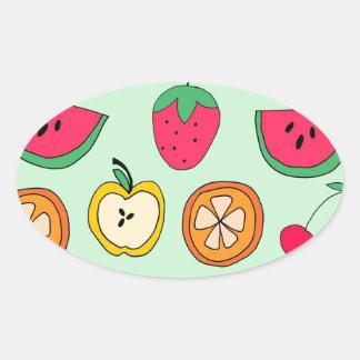 Cute Little Fruit Salad Oval Sticker