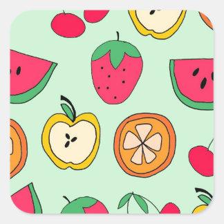 Cute Little Fruit Salad Square Sticker