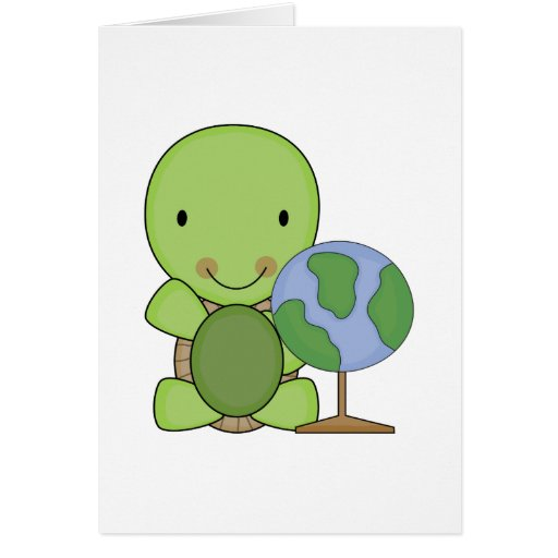 cute little geography turtle greeting cards
