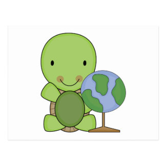 cute little geography turtle postcard