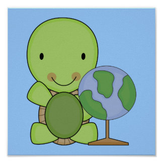 cute little geography turtle poster
