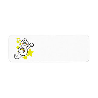 Cute Little Ghost and Yellow Stars Return Address Label