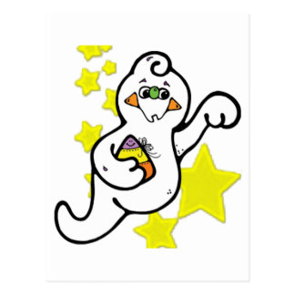 Cute Little Ghost and Yellow Stars Postcard