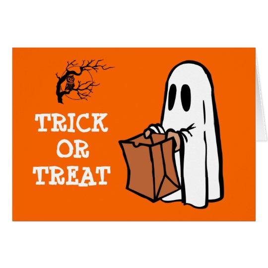 Cute Little Ghost Trick or Treat Fun Halloween Card