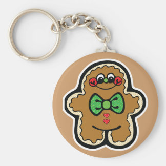 cute little gingerbread man basic round button keychain