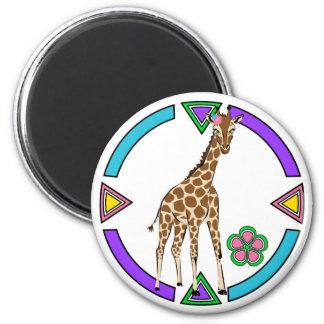 Cute Little Giraffe 2 Inch Round Magnet