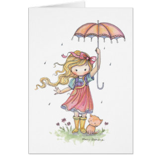 Cute Little Girl and Cat in the Rain Card