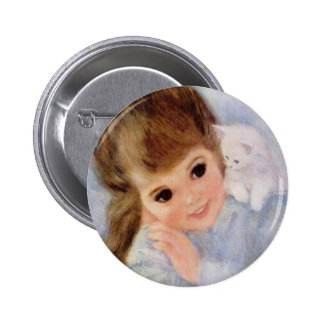 Cute Little Girl and Kitten 2 Inch Round Button