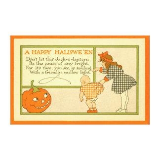 Cute Little Girl Baby Jack O Lantern Pumpkin Canvas Print
