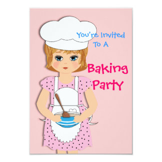 Cute Little Girl Baking Themed Party Card