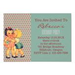 "cute little girl boy retro kids birthday party 5"" x 7"" invitation card"