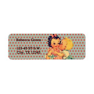 cute little girl boy retro kids birthday party return address label
