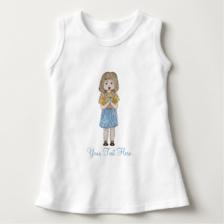 Cute little girl brown hair blue skirt art design dress