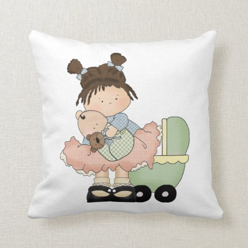 Cute Pillow Doll : Cute Little Girl/Buggy and Doll Throw Pillow Zazzle