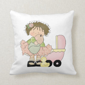 Cute Little Girl/Buggy and Doll Throw Pillows