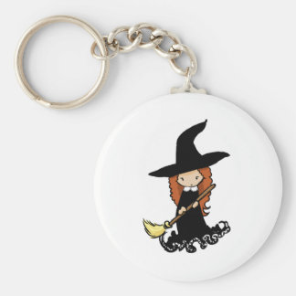 Cute Little Girl Child Witch Keychain