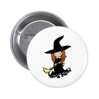 Cute Little Girl Child Witch Pinback Button