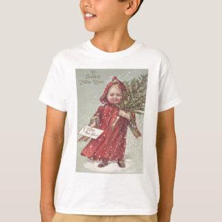 Cute Little Girl Christmas Tree Snow T-Shirt