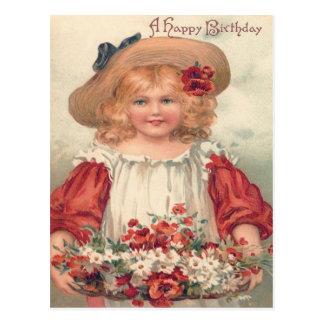 Cute Little Girl Daisy Pansy Postcard
