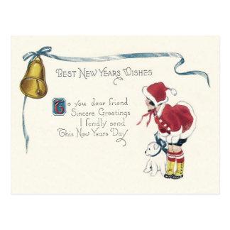 Cute Little Girl Dog Bell Postcard