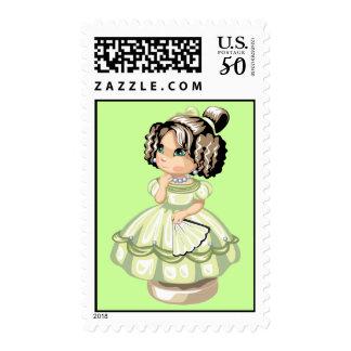 Cute little girl doll cartoon light green brown postage