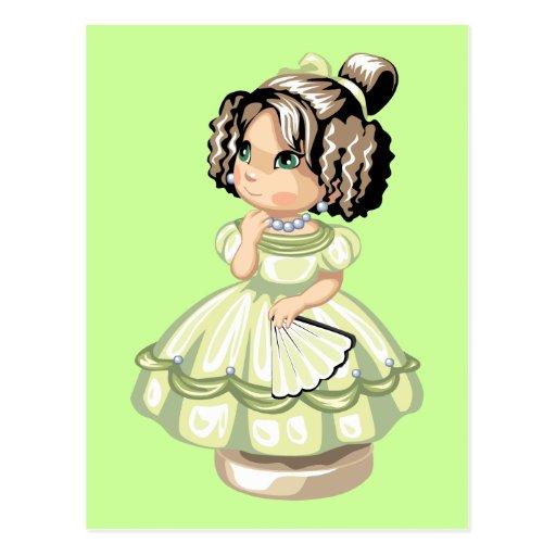 Cute little girl doll cartoon light green brown postcards