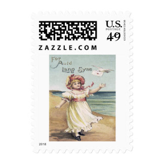 Cute Little Girl Dove Letter Auld Lang Syne Postage