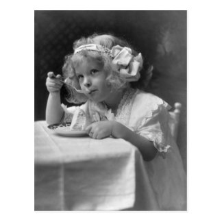 Cute Little Girl Eating Ice Cream Postcard
