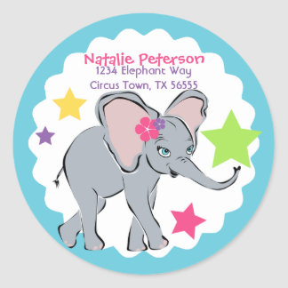 Cute Little Girl Elephant Star Address Label Round Stickers