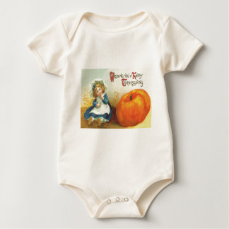 Cute Little Girl Field Pumpkin Baby Bodysuit