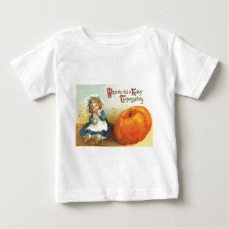 Cute Little Girl Field Pumpkin Baby T-Shirt