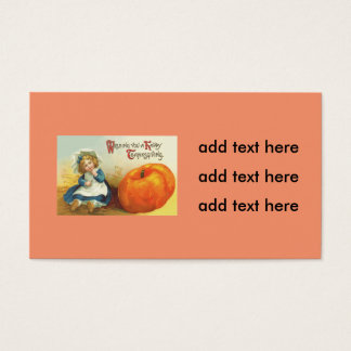 Cute Little Girl Field Pumpkin Business Card