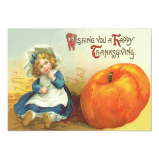 Cute Little Girl Field Pumpkin Card