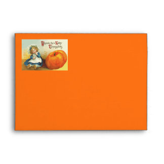 Cute Little Girl Field Pumpkin Envelope