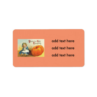 Cute Little Girl Field Pumpkin Label