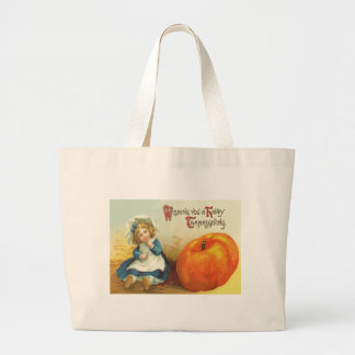 Cute Little Girl Field Pumpkin Large Tote Bag