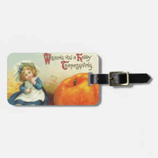 Cute Little Girl Field Pumpkin Luggage Tag