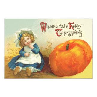 Cute Little Girl Field Pumpkin Photo Print