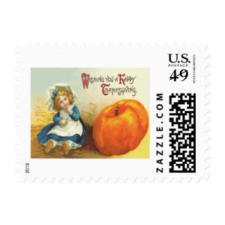 Cute Little Girl Field Pumpkin Postage