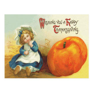 Cute Little Girl Field Pumpkin Postcard