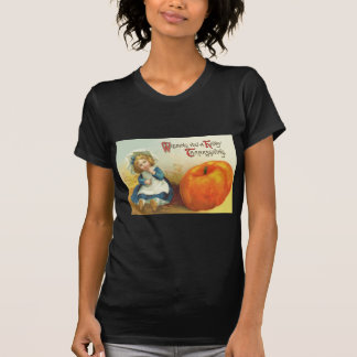 Cute Little Girl Field Pumpkin T-Shirt