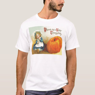 Cute Little Girl Field Pumpkin T-Shirt